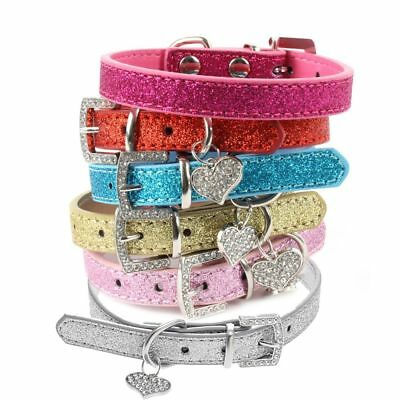 Crystal Rhinestone Pet Dog Collar Bling Leather Cat Neck Strap Heart Pendant