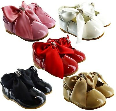 Kids Infants Baby Girls Bow Diamante Spanish Wedding Party Patent Toodler Shoes