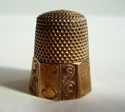 Antique Waite Thresher Co. Gold Band 10 Panel Sterling Silver Thimble