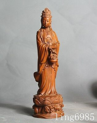 old Chinese boxwood wood hand-carved Kwan-Yin GuanYin Bodhisattva goddess statue