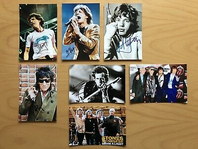 7x Rolling Stones Mick Jagger Keith Richards Ron Wood Repro-Autogramme 10x15cm