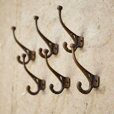 Set of 6 Rustic Industrial Cast Iron Scroll Hook Antiqued Wall Hanging Coat Hook