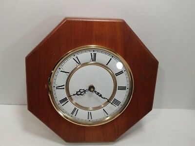 "Vintage Beautiful Solid Wood Open Face Framed Octogon Wall Clock 10.5"" Diameter"