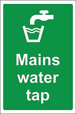 Mains water tap Safety sign