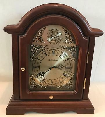 Seth Thomas Westminster Whittington Chime Mantel Clock Wood Gold Cherubs Scroll
