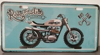 Rare plaque tôle MOTO RIDE AND SLIDE SCRAMBLER style EMAIL 15X30 VINTAGE 66 USA
