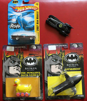 Ertl Batman Batmobile Batskiboat Penguin Duck Vehicle Hotwheels 1989 91 Returns