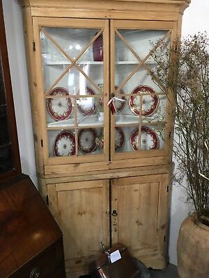 Antique Pine Corner Cupboard Cabinet With Glazed Top, Painted Shelves Cupboard