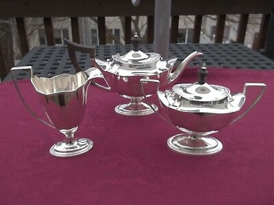 gorham plymouth sterling tea set monogramed H 1908