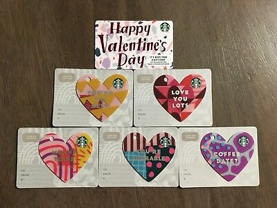 2019 Starbucks Valentine Gift Cards 5 heart diecut cards + traditional card