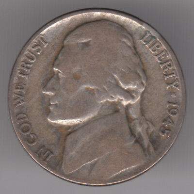 United States 5 Cents 1945 P Silver (.350) Coin - Jefferson Nickel