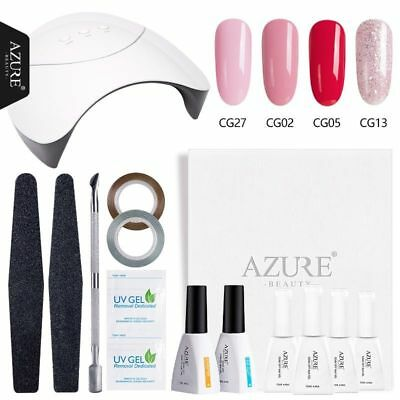 Azure Nail Art Set UV LED Lamp & 4 Color Gel Nail Polish Set Beauty Starter Kit