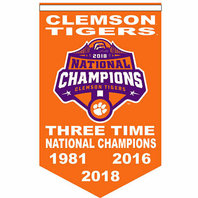 Clemson Tigers Three Time National Champions Banner and Collectible