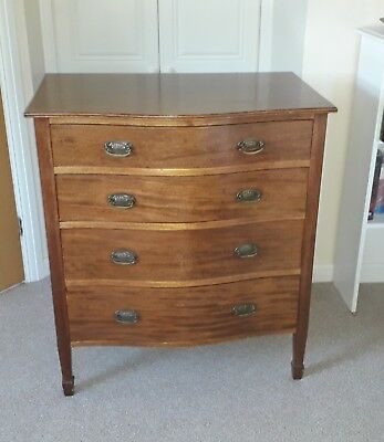 """Antique/Vintage """"Maple & Co"""" Bow Front Chest of Drawers - medium colour wood."""