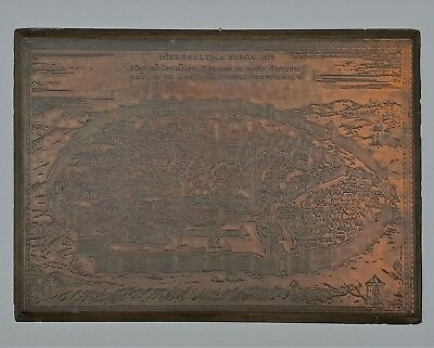 Very Impressive Map of Jerusalem from 1575 Etched in Copper.