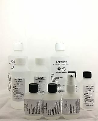 Acetone 99.9% Pure High Quality ACS/Lab Grade Nail Varnish Remover/5 Sizes