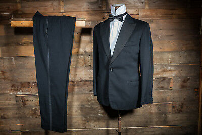 Vintage Bespoke Canvassed Dinner Suit Tuxedo Tailored Fit 40R 32W 32L Black Wool
