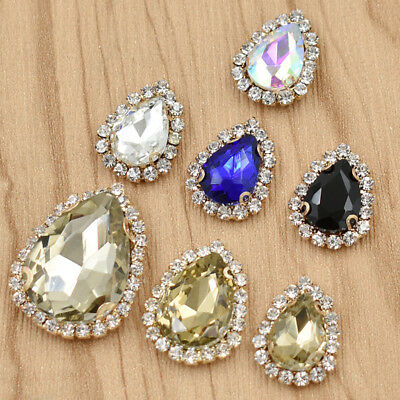 10pcs Sew On Crystal Glass Flat Back Rhinestones Gold Button DIY Sewing Material