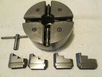 """Union Mfg.co. vintage reversible 4 jaw ind. 6"""" lathe chuck with key."""