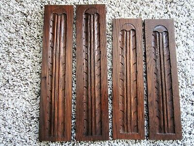 2 Pair Tiger Oak Carved Acanthus Appliques Victorian Carvings Plinth Panels Trim