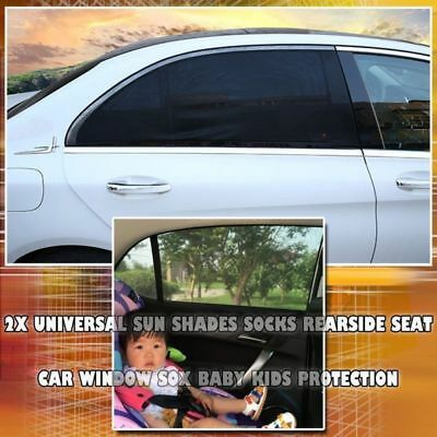 Universal Car Window Sun Shades Socks Rear Side Seat Sox Baby Kids Protection 2x