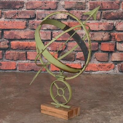 Antique Danish Green Garden Sun Clock / Armillary