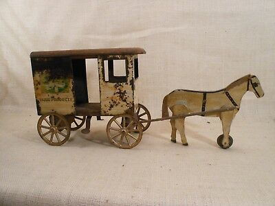Very Old Rich Toy Advertising Wagon Barn Find Rustic Decor Bordon's Advertising