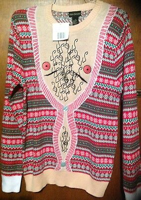 Alex Stevens Mens Hairy Chest Cardigan Ugly Christmas Sweater Large