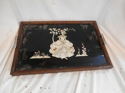 ANTIQUE Mother of Pearl OAK Edged 1930s TRAY METAL Handles vintage 49cm x 33cm