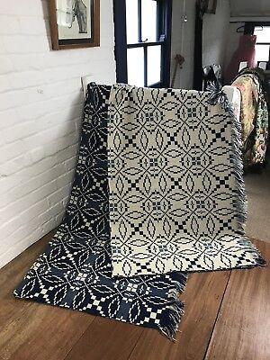 Pair Of Vintage Welsh Wool Blankets Quilt Throw Tapestry Monochrome Contemporary