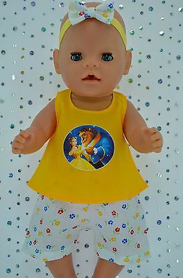 "Play n Wear Doll Clothes To Fit 17"" Baby Born FLORAL PANTS~TOP~HEADBAND"