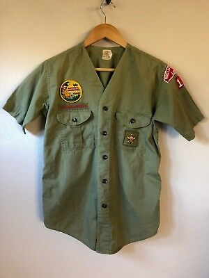 Vintage Boy Scouts of America Button Up Shirt Green with Patches M FAST SHIPPING