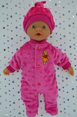 "Play n Wear Doll Clothes For 13"" Little Baby Born HOT PINK STRETCH AND GROW~HAT"