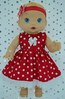 "Play n Wear Doll Clothes To Fit 13"" Baby Alive  RED DOT DRESS~HEADBAND"