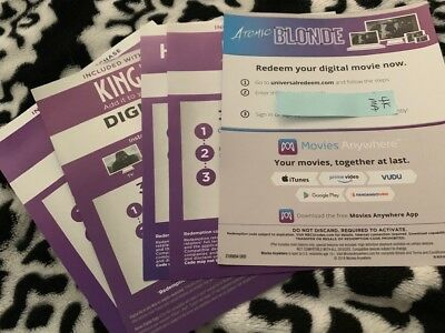 Digital Codes From 4K sets (Atomic Blonde, Ex Machina, Hell Or High Water, T2)