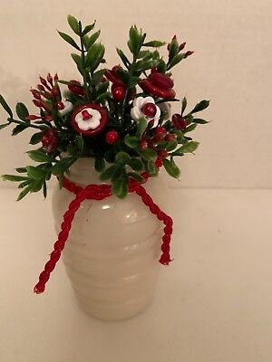 VTG Valentine Button Bouquet/Milkglass Salt-Prim-Rustic-Country-Kitchen Decor