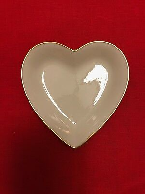 """VINTAGE LENOX HEART SHAPED CANDY / DECORATIVE DISH w/ GOLD RIM, APPROX 5"""" W"""