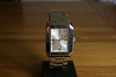 French Connection large gents rectangular stainless steel bracelet watch lot219