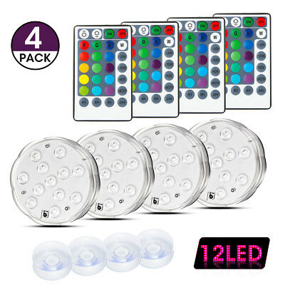 4 Pack LED Underwater Light Pond Lighting for Swimming Pool Spa Bath Party Stage