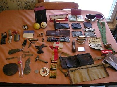 ANTIQUE-VINTAGE JUNK DRAWER LOT MOSTLY MAN ITEMS,,LIGHTERS,Razor,Buckles,openers