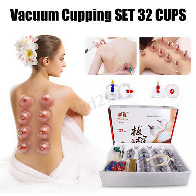 34x Cups Chinese Massage Suction Cups Vacuum Cupping Therapy Set Acupuncture