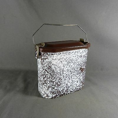 Antique Vintage French Enameled Graniteware Brown & White LUNCH PAIL LUNCH BOX