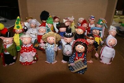 Lot of 26 Vintage Wooden Pig Christmas Ornaments