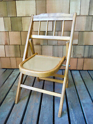 1940s VINTAGE CHILDS SOLID WOOD FOLDING CHAIR BABEE-TENDA DOLL DISPLAY LOCKS