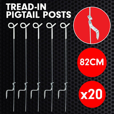 20x Electric Fencing Pigtail Tread Fence Wire Strip Graze Steel Post Insulator