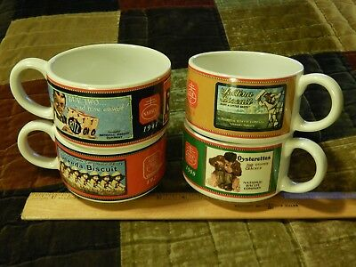 """National Biscuit Company (NABISCO) LOT of 4 Soup_Chili CERAMIC BOWLS """"Ritz"""" +"""