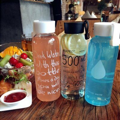 600ML Breakproof Glass Water Bottle Travel Drinking Water Bottle Drinkware TM