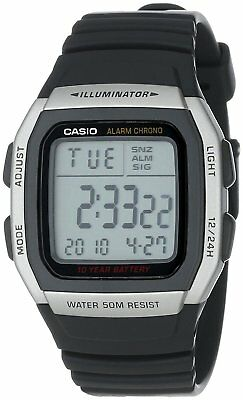 Mens Casio W-96H-1B Illuminator Black Rubber Resin Digital Sport Alarm Watch