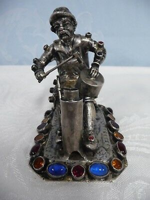 RARE ANTIQUE 19th C. SOLID SILVER JEWELED FIGURE - HANAU GERMANY - MARKED 800
