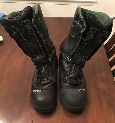 "Globe 12"" Zip Up Structural Firefighting Boots Men's Size 12M"
